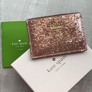 Kate Spade glitter bug card holder in rose gold